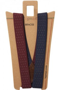 Topman Navy And Burgundy Spotted Braces