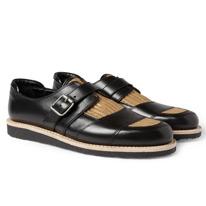 raffia strap monk shoes