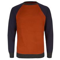 navy and orange jumper
