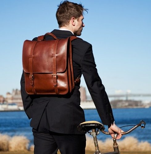 backpack and bicycle