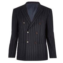 navy pinstripe blazer