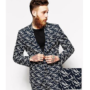 sticks print blazer