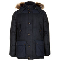 check hooded parka