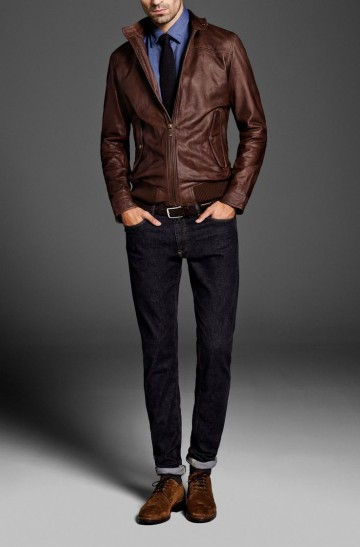 brown leahter jacket