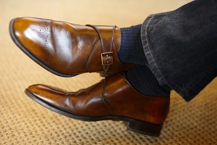 single monk strap jeans