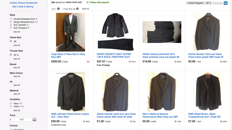 mens suits filtered on ebay