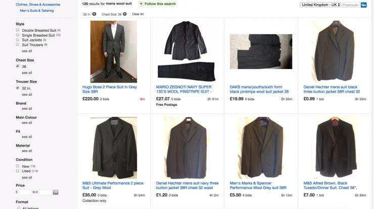 mens suits filtered on ebay