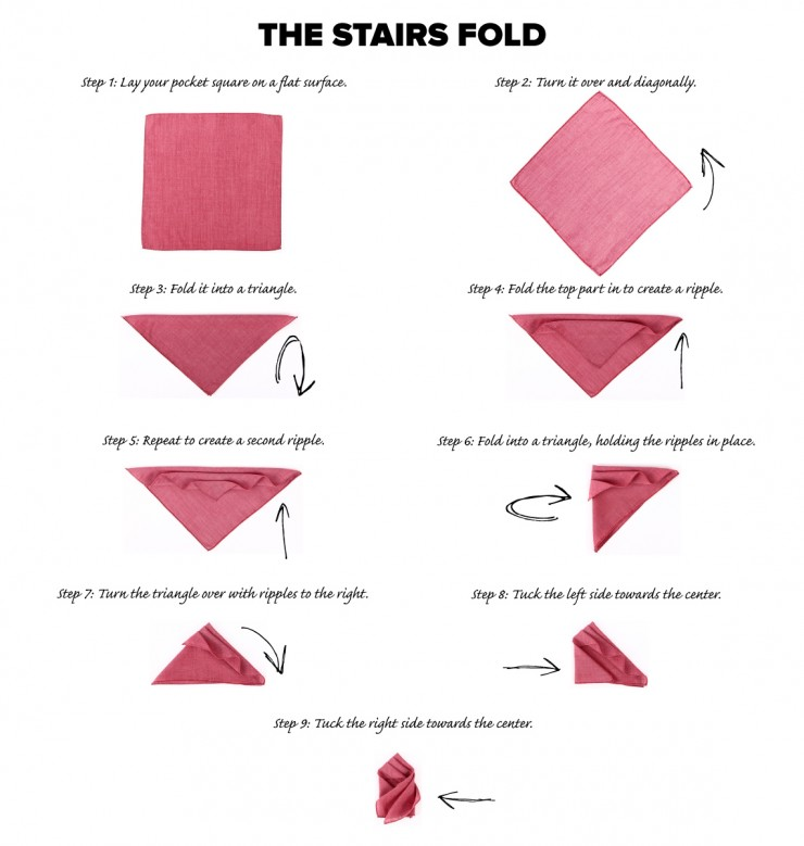 stairs pocket square fold