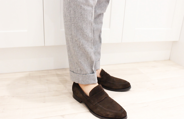 grey flannel trousers loafers