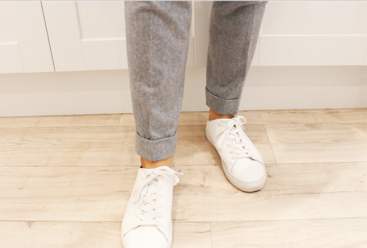 grey flannel trousers white sneakers