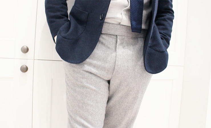 grey flannel trousers with navy blazer
