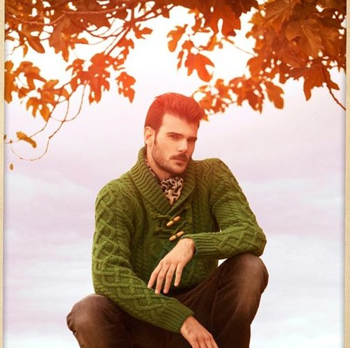 green cable knit